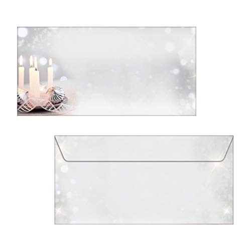Sigel DP178 briefpapier Kerstmis A4 met feestelijk kaarsmotief, 90 g, 100 vel Enveloppen