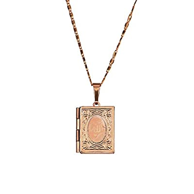 Lovhop Stylish Necklace Men Women Gold Islamic Box Photo Locket Pendant Necklace Jewelry for Women Girls Mom Gifts