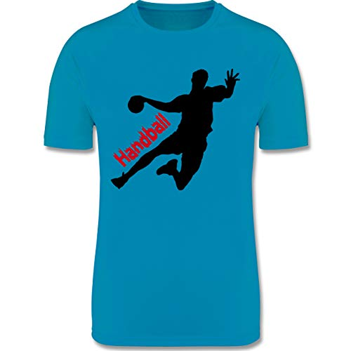 Sport Kind - Handballer mit Schriftzug - 164 (14/15 Jahre) - Himmelblau - t Shirt mit Handball - F350K - atmungsaktives Laufshirt/Funktionsshirt für Mädchen und Jungen