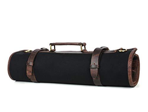 Leather Knife Roll Storage Bag, Elastic and Expandable 10 Pockets, Adjustable/Detachable Shoulder Strap, Travel-Friendly Chef Knife Case (Raven (Black))