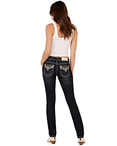 Miss Me Women's Aztec Cactus Straight Jeans Dark Blue 26W x 34L