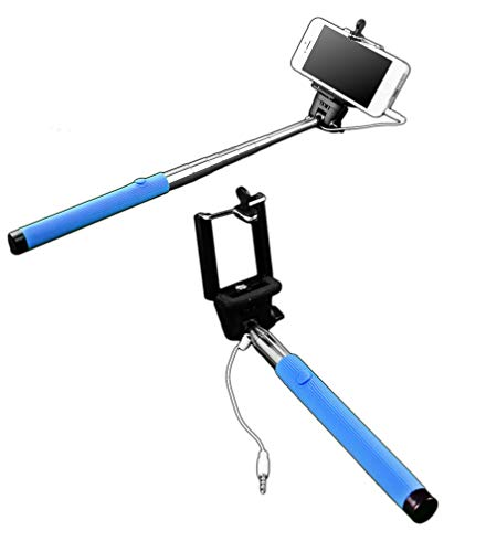 Selfie Stick Stange mit 3,5mm Klinkenstecker   Monopod Teleskop   Farbe - Blau   Selbstauslöser für IOS iPhone Samsung Android Huawei Smartphone   Erweiterbarer Fernauslöser   Mini Selfiestange