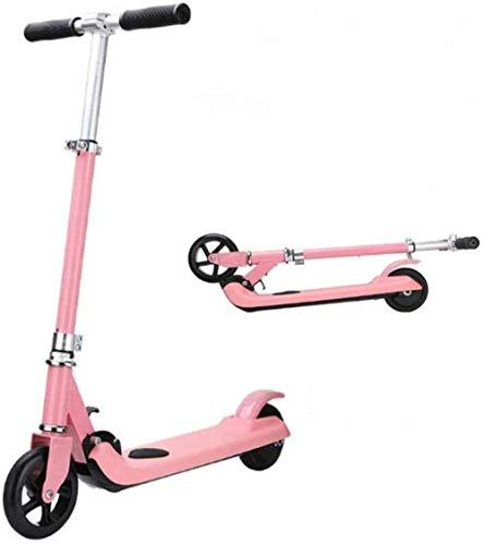XBSLJ Elektroscooter, Faltbar Zwei Runden kostenpflichtig Einstellbare Höchstgeschwindigkeit 6 km/h 6 km Laufstrecke für Jungen Mädchen Alter 7-14 Größe-Rosa