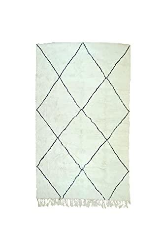 Beni Ourain - Alfombra original marroquí (330 x 208 cm), 100% lana,...
