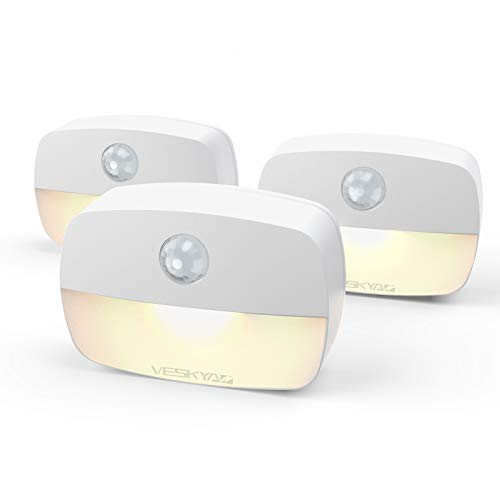 3 Packs Sensor Night Light, VESKYAO Motion and Light Sensor Stick-On Night Light, Battery Operated LED Stairs Lights with Adhesive Pads, for Cupboard, Wardrobe, Shelf, Toilet, Stairs - Warm White