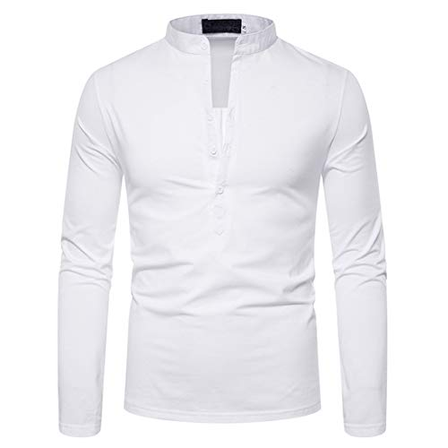 Men Shirt Men T-Shirts Fashion Buttons Simple Long-Sleeved Spring and Autumn Light Sports Leisure Party Work Gentleman New Men Tops White_ L