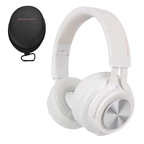 PowerLocus Bluetooth Auriculares Diadema, [Bluetooth 5.0,40h de música] Cascos Bluetooth Inalámbrico Plegable Casco Bluetooth y Cable Sonido Estéreo con Micrófono para iPhone,Móviles,TV, PC (Blanco)