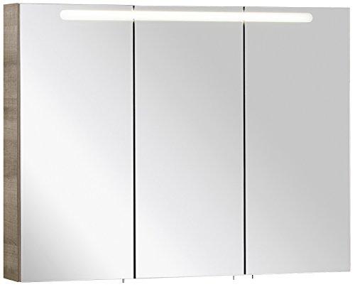 FACKELMANN Spiegelschrank A-VERO/Badschrank mit gedämpften Scharnieren/Maße (B x H x T): ca. 105 x 79,5 x 15,5 cm/hochwertiger Schrank fürs Badezimmer/Korpus: Braun hell/Front: Spiegel