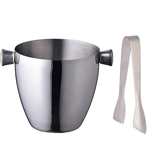 LYYAN High Capacity Eiseimer Eisbehälter Rostfreier Stahl Eiskübel Eine Zange 1.5L Bierfass