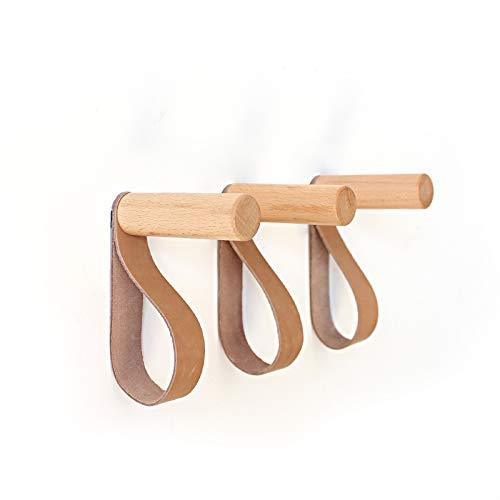 anaan Forest Wandhaken mit Lederband Garderobenhaken aus Holz Kleiderhaken Wandmontage Wanddeko Modern skandinavisch Design (3er Set)