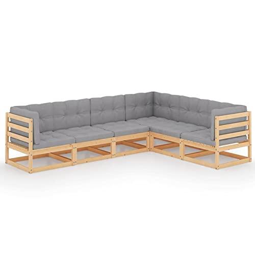 Susany Set de Muebles de Jardín de 6 Piezas Sofá de Palets de Terraza con Cojines Sillon Conjunto de Asientos para Balcón Duradera Madera Pino Maciza Gris