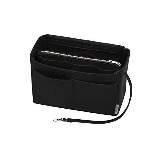 Purse Organzier, Bag Organizer with Metal Zipper (Medium, Black)