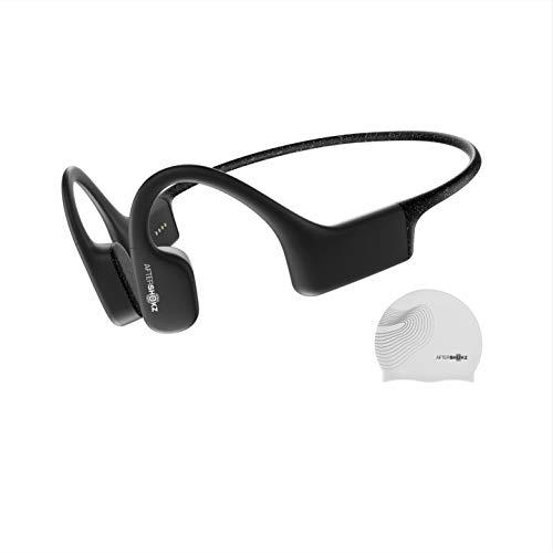 Aftershokz Xtrainerz Schwimm MP3-Player, Open-Ear Bone-Conduction Kopfhörer, wasserdichte/Wireless/Ohne Bluetooth/4GB Speicher/Leicht 30g, Schwarz