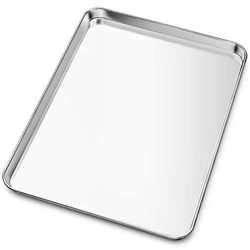Baking Sheet, Yododo Stainless Steel Baking Pans Tray Cookie Sheet Toaster Oven Tray Pan Cookie Pan, Non Toxic & Healthy, Superior Mirror Finish & Rust Free, Easy Clean & Dishwasher Safe - 24 inch