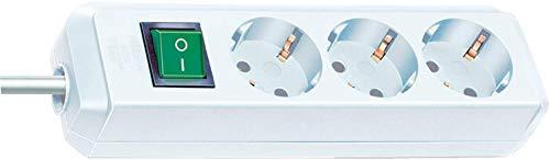 Brennenstuhl Eco-Line regleta de enchufes con 3 tomas de corriente (cable de 1,5 m, interruptor) blanco
