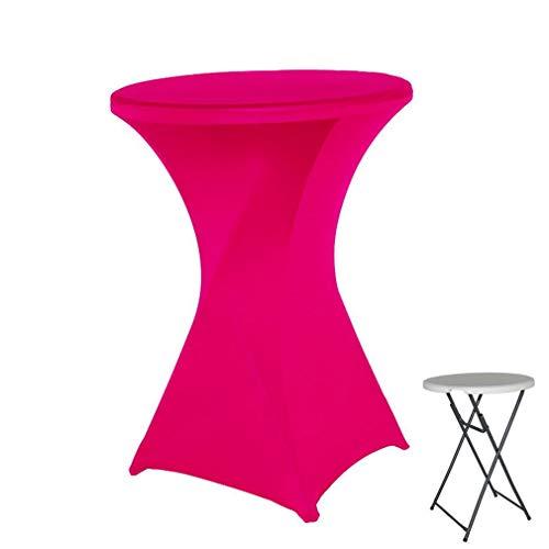 YiyiLai Spandex Cocktail Tischdecken Trockener Bar Stretch Runden Form Partys Hochzeit Bankett 60CM Rosa