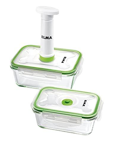 ELMA - SET DE RECIPIENTES AL VACÍO V GLASS - Set de envasadora manual al vacío - Incluye bomba de vacío y dos recipientes para alimentos de 0.5L y 1L