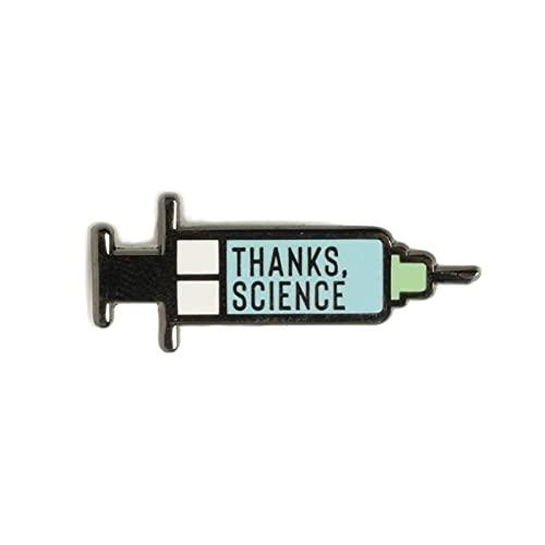 Qiujing Gracias Science Vaccine Syringe Mini Pin Badge Support Gift Hard Enamel Lapel Pin 1.1 pulgadas para bolsa chaqueta mochila decoración