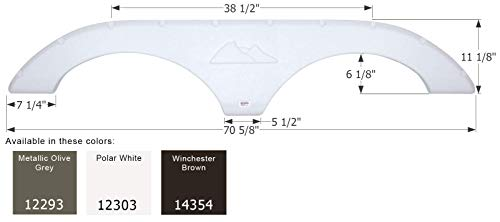 ICON 12303 Tandem Axle Fender Skirt FS2293 for Keystone - Polar White
