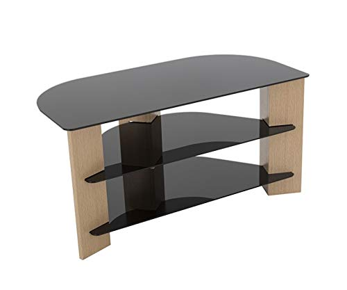King TV Stand Wood Effect with Black Glass Shelves LCD, Curved, LED, 4K, Plasma, etc by TV Furniture Direct (1. 90cm, Oak)