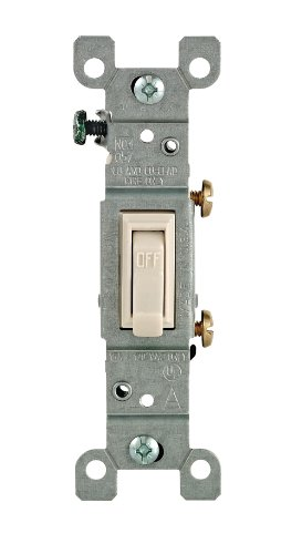 Leviton 14512T Framed Grounded Toggle Switch 120 V 15 A 1 P Count Light Almond