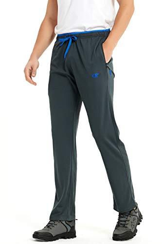 YuKaiChen Pantalones de chándal para hombre Athletic Open Bottom de malla, con bolsillos gris L