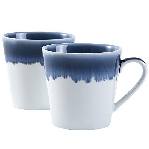 terrace&dragon® Keramik-Kaffeetassen Tasse Becher Porzellantassen für Tee, Cappuccino, Kakao, 340 ml, 2 Stück (Weiß)