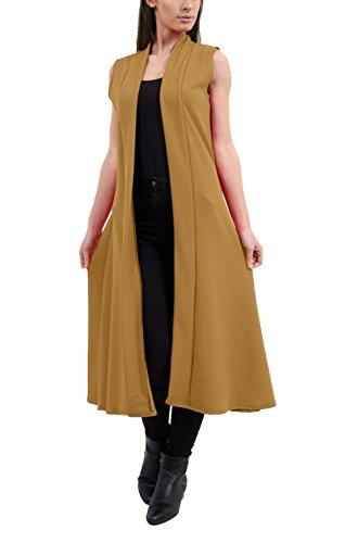 Rimi Hanger Ladies Open Front Long Crepe Maxi Waist Duster Coat Womens Sleeveless Cardigan Camel Medium/Large