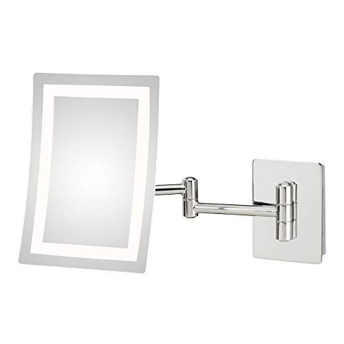 Mirror Image Single-Sided Rectangular LED Lighted Magnified Warm Make-up Mirror, Chrome
