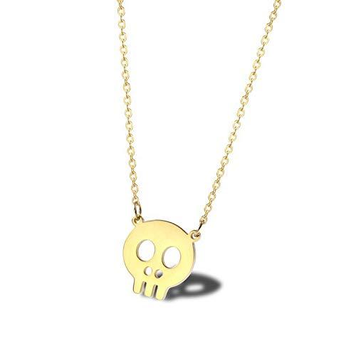 Burenqi Dainty Gold Skull Ketting Roestvrij Staal Minimalistische Spooky Accessoire Bedel Skeleton Kettingen met hanger