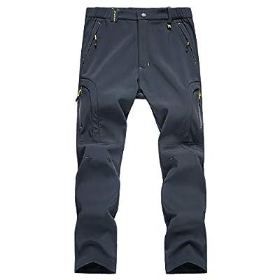 TREKEK Men's Warm Ski Hiking Pants Softshell Fleece Lined Winter Outdoor Windproof Waterproof Trousers Gray-Blue