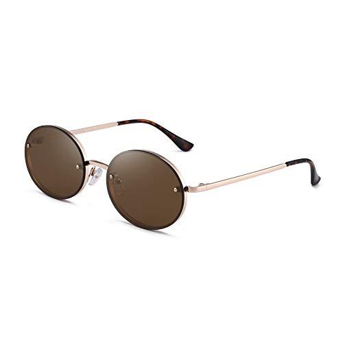 GLINDAR Gafas de Sol Ovaladas Pequeñas Vintage Para Hombres Mujeres Lentes Planas Montura Metálica Gafas de Sol Marrón