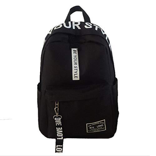 Backpack Rucksack School Bags High School Students A Hundred Simple Campus Junior High School Shoulder Bags Black 31 X 16 X 43Cm