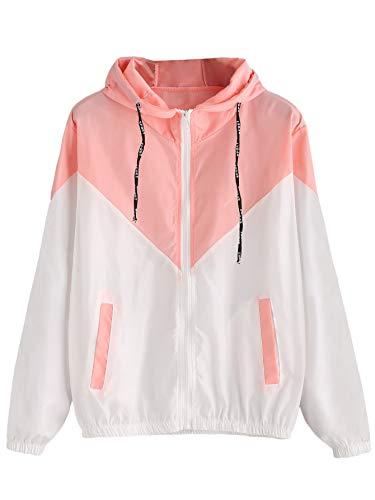 Milumia Women's Color Block Drawstring Hooded Zip Up Sports Jacket Windproof Windbreaker Medium Pink-1