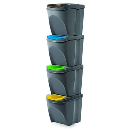 Prosperplast Juego de 4 Cubos para Reciclar la Basura, 20L Cada Cubo, en Color Blanco, Gris, o Antracita. (Gris)