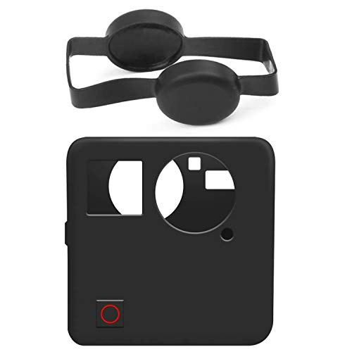 Protective Silicone Case for Gopro Fusion 360, Rubber Housing Case Skins Protector Cover Accessories with Camera Lens Cap Cover