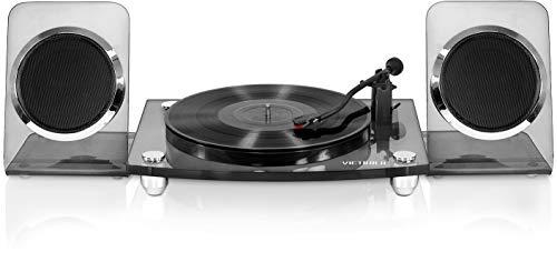 Victrola Modern Acrylic 2-Speed Bluetooth Turntable with 40-Watt Wireless Speakers, Smoke