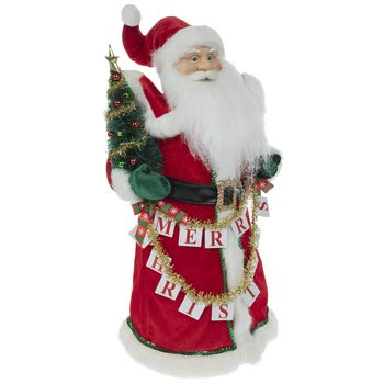 Santa With Greenery and Garland Tree Topper Christmas Decoration 19 inch H