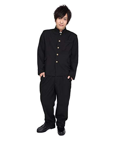 PATYMO Japanese High School Student Uniform Costume, Black, Men