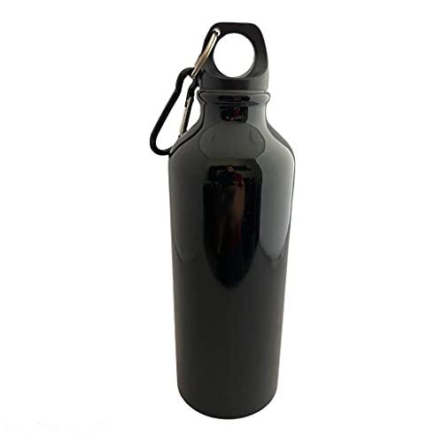 BORRACCIA BAMBINI TERMICA CON MOSCHETTONE, 500 ml Bottiglia Acqua in Alluminio, col. Nero Lucido, Borracce per Scuola, Sport All'aperto, Palestra, Yoga