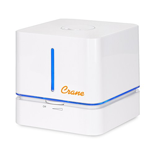 Crane Cube Personal Ultrasonic Cool Mist Humidifier, for Home Bedroom Hotels Travel and Office, 0.5 Gallon, Filter Free,  White