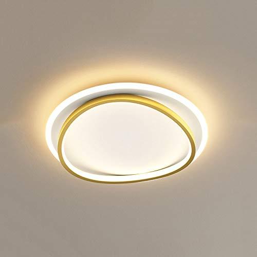 Xungzl Luz de techo de montaje de doble capa de doble capa de oro moderno y simple, Lámparas de techo redonda y delgada, redonda y delgada de tres colores para el dormitorio, accesorios de luz de coci