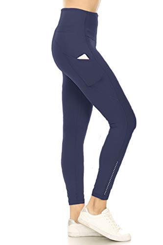 YL8A-NAVY-1X Side Pocket Yoga Pants with Reflective Dots, 1X