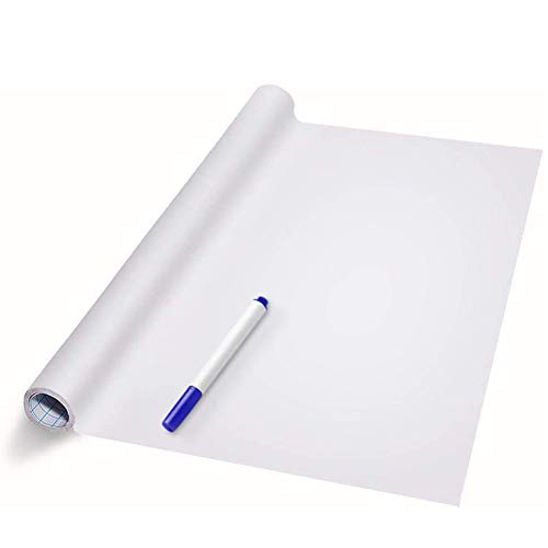 White Board Wall Sticker Roll Dry Erase Board Markers Included Adhesive White Board Wallpaper for Office & Kids Room Peel and Stick Paper Decal 17.7'x78.7'