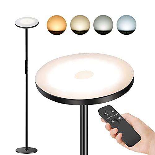 Stehlampe LED Dimmbar Moderne Deckenfluter Stehleuchte Hohe Stehlampe Wohnzimmer Schlafzimmer Büro Hotel 24W Stehlampe Dimmbar mit Fernbedienung und Touch-Steuerung Leselampe mit 4 Farbtemperaturen
