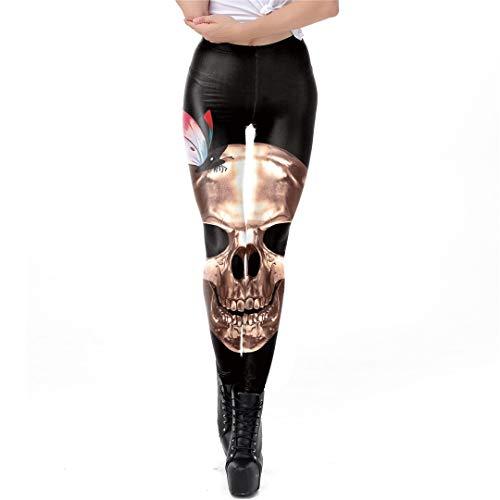 EDFLPUTB Legging con Estampado Digital de Calavera de Metal Negro Retro de Halloween para Mujer Pantalón de Tobillo Leggins de Entrenamiento de Fitness WKDK1031 S