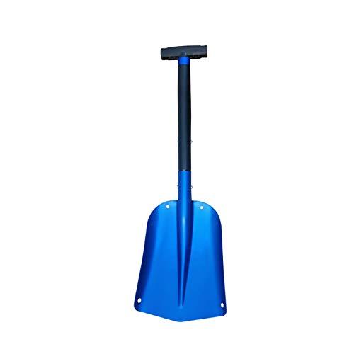 Pala quitanieves telescópica Pala de hielo de aluminio con mango de longitud ajustable Herramienta para quitar nieve de invierno Jardín de Camping Herramientas de supervivencia de pala plegable,Azul
