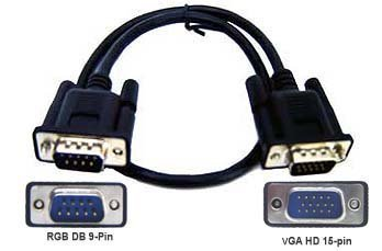 D-Sub 15-Pin VGA To DB 9-Pin RGB Adapter Cable