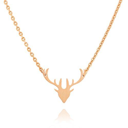 Selia Geweih Kette Hirsch Halskette Bambi minimalistische Optik Edelstahl brushed gebürstete Optik handgemacht (Rosegold)