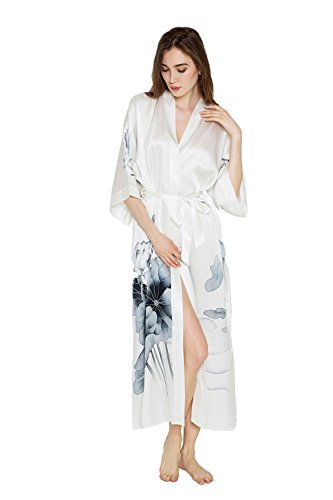Women's Silk Kimono Robe Long - Handpainted - Lotus Black & White